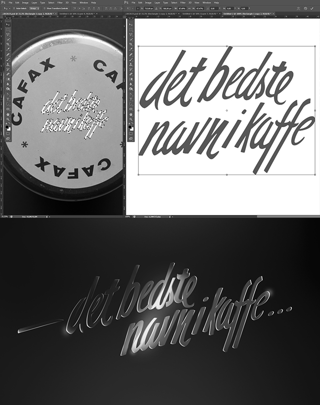 Creating hand crafted shiny brass lettering by tracing the coffee slogan and working in Photoshop for a 3D effect