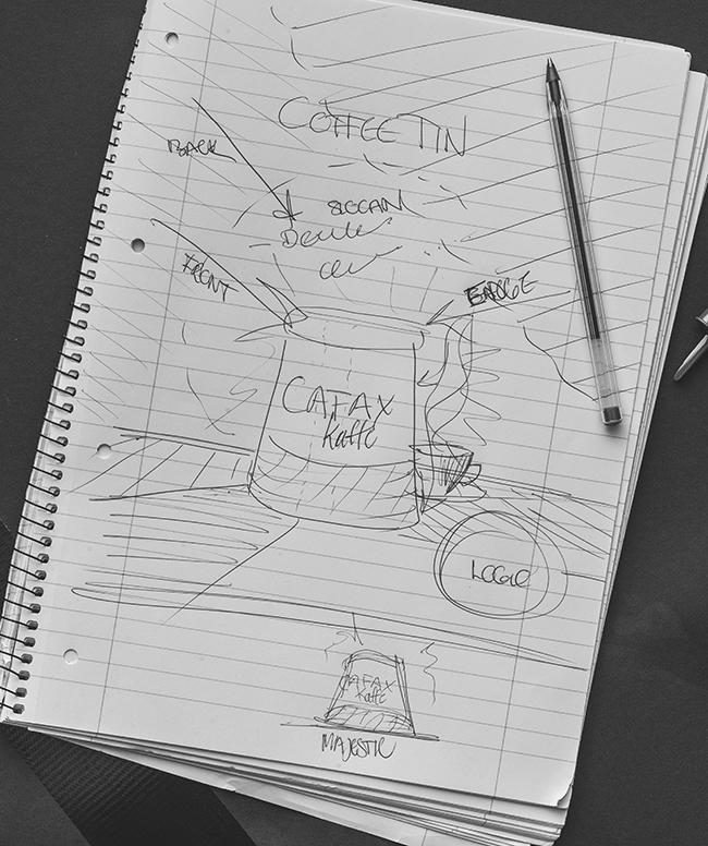 Project sketch outlining the desired concept for the coffee ad