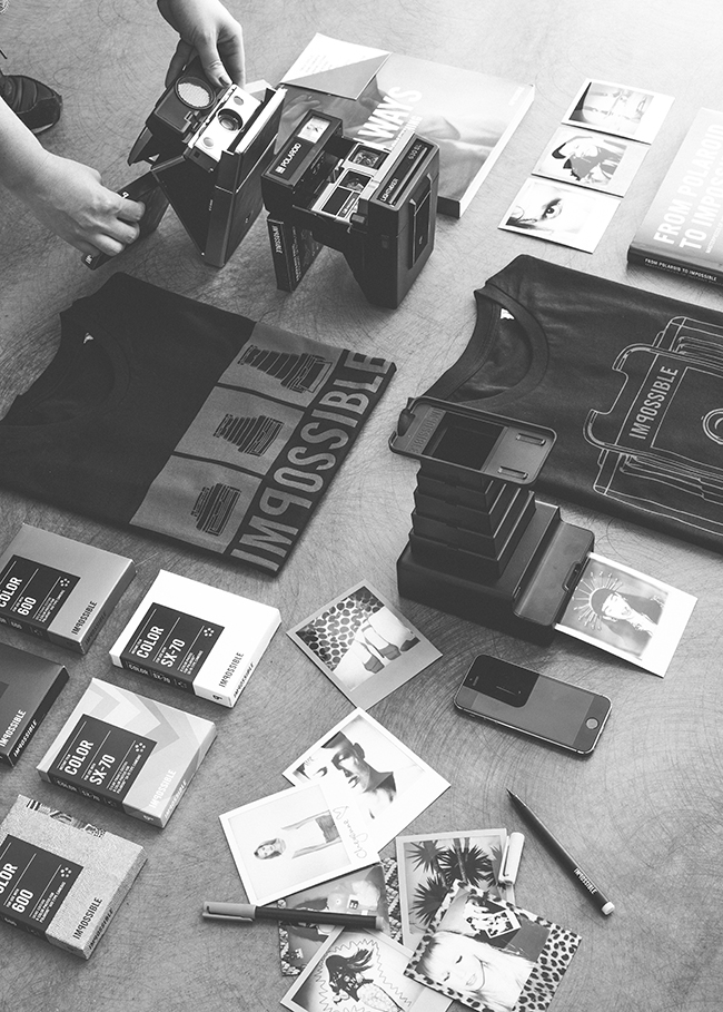 Preparing accessories photo shoot in Berlin for the Impossible Project with Mette Beate, Debbie Vesey and Polaroid instant cameras