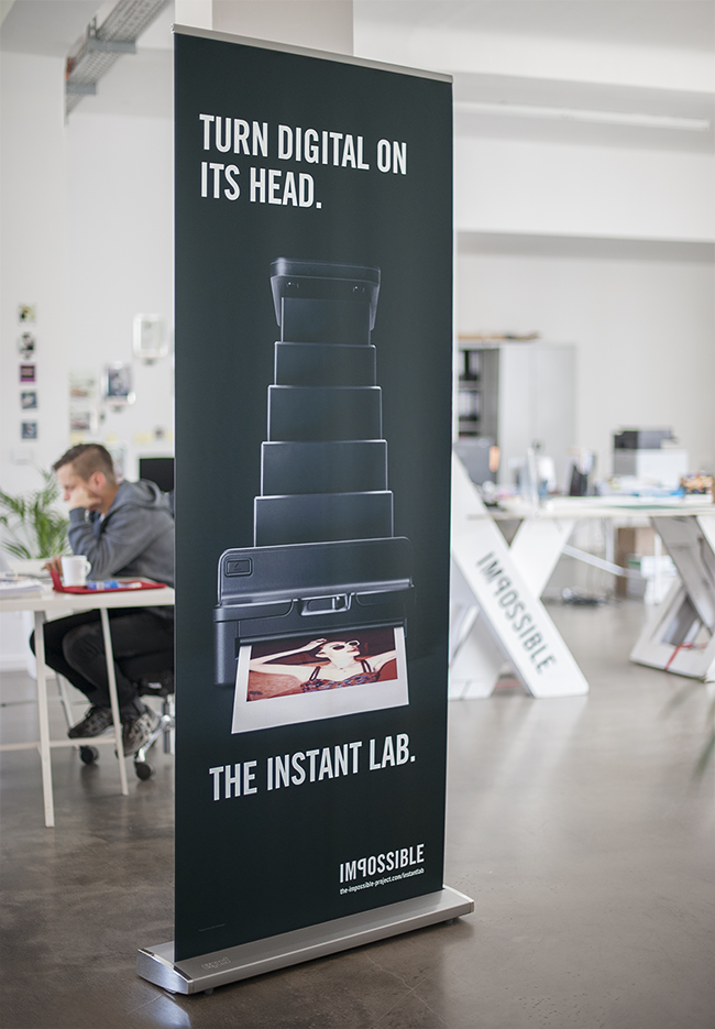 The Impossible Project Instant Lab banner at creative HQ in Berlin