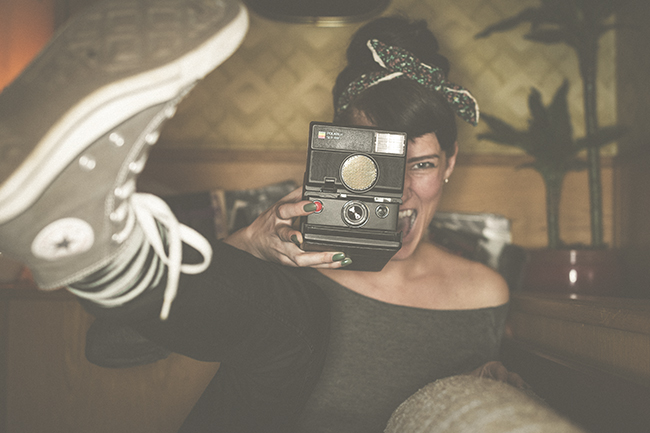 Retro lifestyle photography by Lars Brandt Stisen and Mette Beate with Polaroid instant camera on café Datscha Berlin