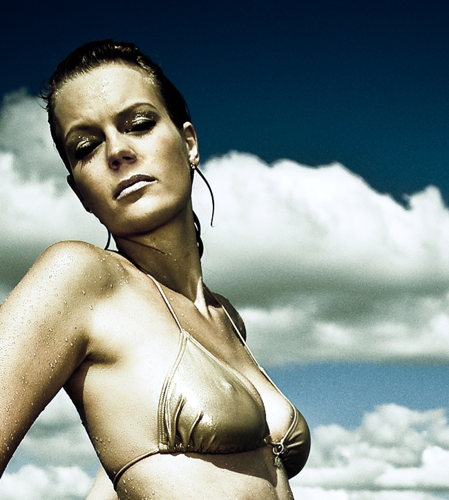 Gold-bronzed swimsuit photography by Lars Brandt Stisen