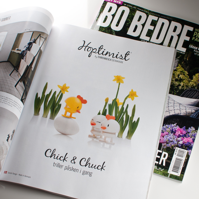 Hoptimist Chick and Chuck in Scandinavian magazine Bo Bedre