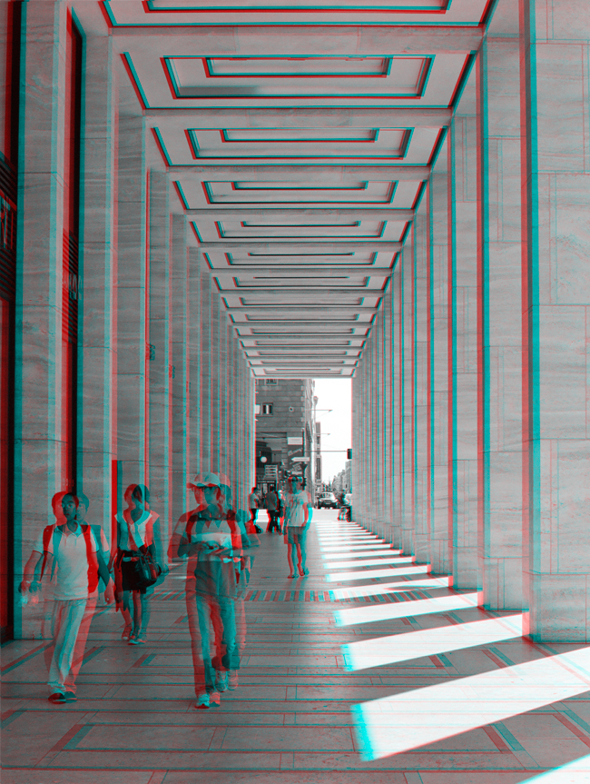 Tourist in paradise - Friedrichstrasse stereoscopic 3D anaglyph