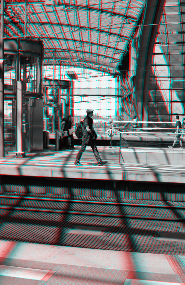 Arrival - Hauptbahnhof stereoscopic 3D anaglyph