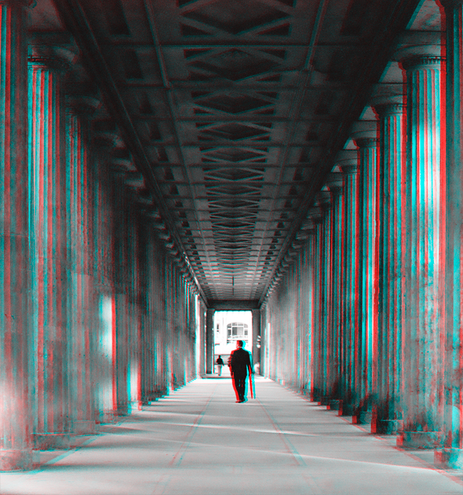 Under the arcade, Museumsinsel - Stereoscopic 3D anaglyph