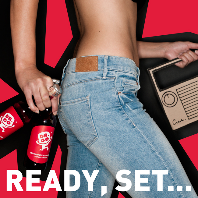 Blue jeans and cardboard radio - Beverage advertising campaign Berlin