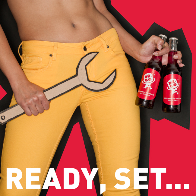 Yellow jeans and cardboard wrench - Beverage advertising campaign Berlin